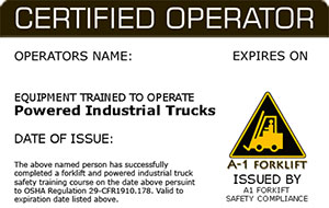 Forklift Certification Operator Wallet Card