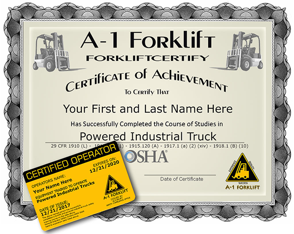 A-1 Forklift Certification Certificate